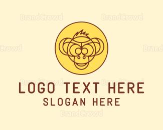 Monkey - Monkey Outline Badge logo design