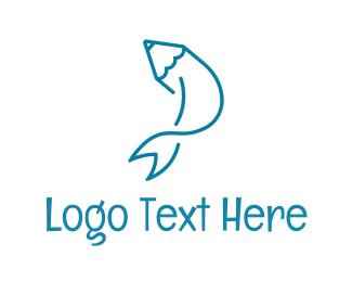 Pencil - Fish Pen logo design