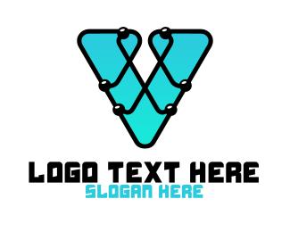 Technician - V Computer Chip logo design