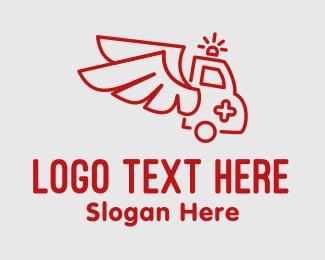 Car - Winged Emergency Ambulance logo design