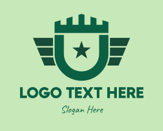 Infantry - Green Military Shield logo design