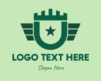 Defend - Green Military Shield logo design