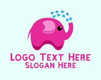 Shower - Pink Elephant Bath logo design