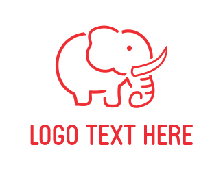 Trunk - Red Elephant logo design