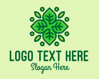 Tea Store - Organic Green Leaf Plant  logo design