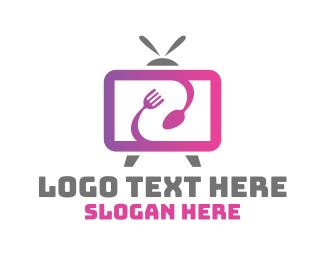 Tv - Food Vlog Media TV Channel logo design