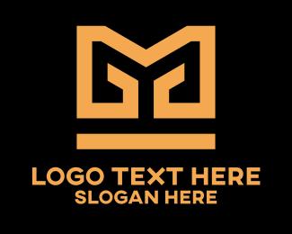 Fabric - Golden Pattern Letter M logo design