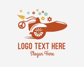 Biker - Florist Sidecar  logo design