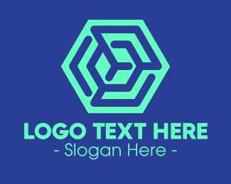 Line Art - Green Line Hexagon logo design