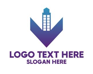Purple Building - Blue Gradient V Tower logo design