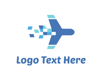 Blue Rocket - Plane Travel Pixel logo design