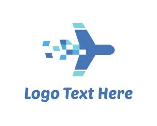 Aeroplane - Plane Travel Pixel logo design