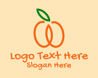 Online Market - Orange Apricot Fruit  logo design