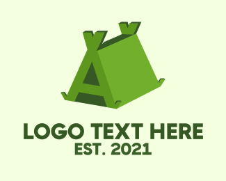 Teepee - Green Tent Letter A logo design