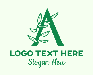 Vinery - Green Plant Letter A logo design