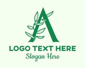 Seaweed - Green Plant Letter A logo design