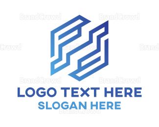 Double - Blue Double F logo design