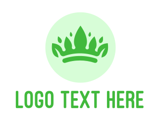 Beauty Pageant - Green Leaf Crown logo design