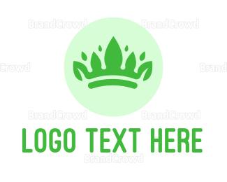 Monarchy - Green Leaf Crown logo design