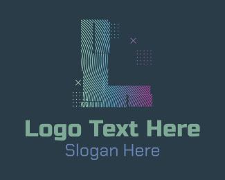 L - Modern Glitch Letter L logo design