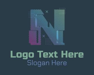 N - Modern Glitch Letter N logo design
