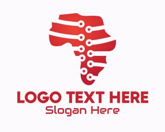 Geography - Digital African Map logo design