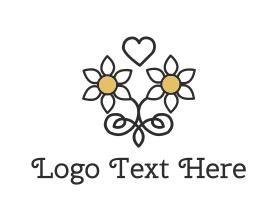 Handmade - Daisy Love Heart logo design