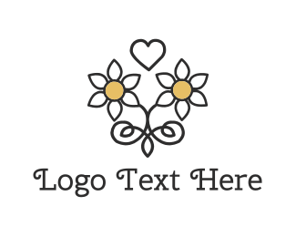 Wedding - Daisy Love Heart logo design