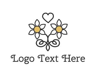 Joy - Daisy Love Heart logo design