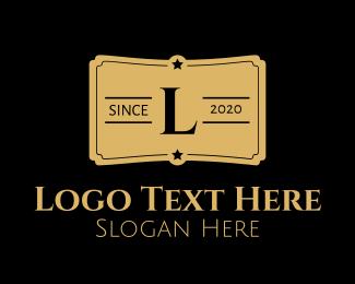 Ticket - Gold Ticket Lettermark  logo design