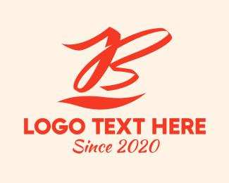 Gymnast - Red Calligraphy Letter B logo design