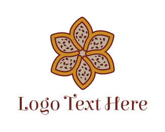 Fudge - Brown Autumn Flower logo design