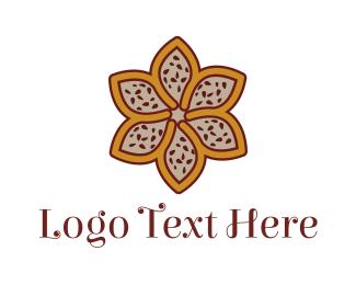 Dinnerware - Brown Autumn Flower logo design