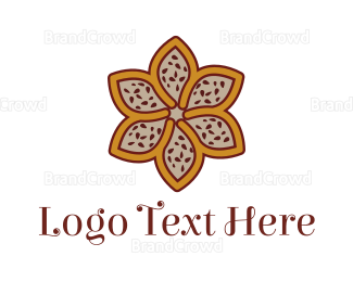 Gardener - Brown Autumn Flower logo design