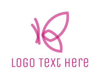 Aesthetic - Pink Abstract Butterfly logo design
