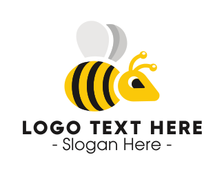 Wasp - Black Yellow Wasp Bee logo design