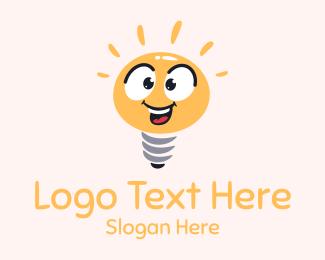 Joy - Bright Light Bulb Mascot logo design