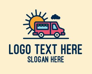 Road Trip - Cute Van Truck logo design