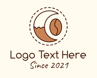 Instant Coffee - Coffee Bean Moon Cafe logo design