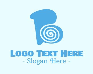 Swirly - Blue Swirly Letter B logo design