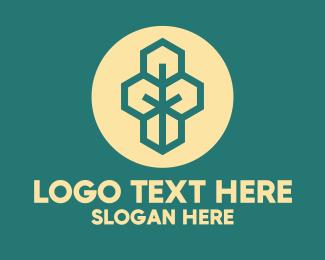 Sans Serif - Green Geometric Tree logo design