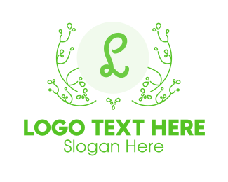 Natural Therapy - Green Vines Lettermark logo design