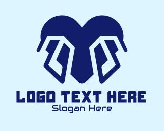 Dating Advice - Blue Tech Heart logo design