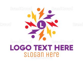 Crowdsourcing - Colorful Thunder Crowd logo design