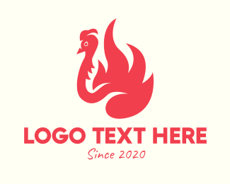 Peafowl - Red Fiery Bird logo design