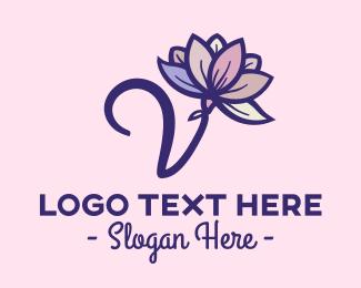 Flower Arranging - Letter V Lotus Flower logo design