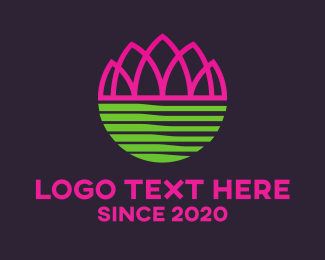 Pink - Pink Abstract Lotus  logo design