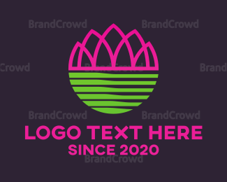 Pure - Pink Abstract Lotus  logo design
