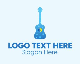 Guitar Lesson - Blue Night Dream Guitar  logo design