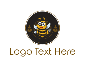 Honeybee - Bee Circle Emblem logo design